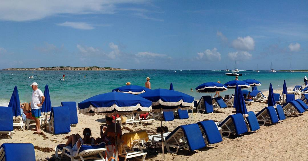 One of the beautiful beaches we visit on our charters is Orient Beach. It is a world famous beach for its gorgeous soft sand, miles of beach front, warm breeze and water, popular bars, clubs, and restaurants, and of course, the nudist colony to the south end. People watching here is classic, as is a relaxed afternoon of rum punch