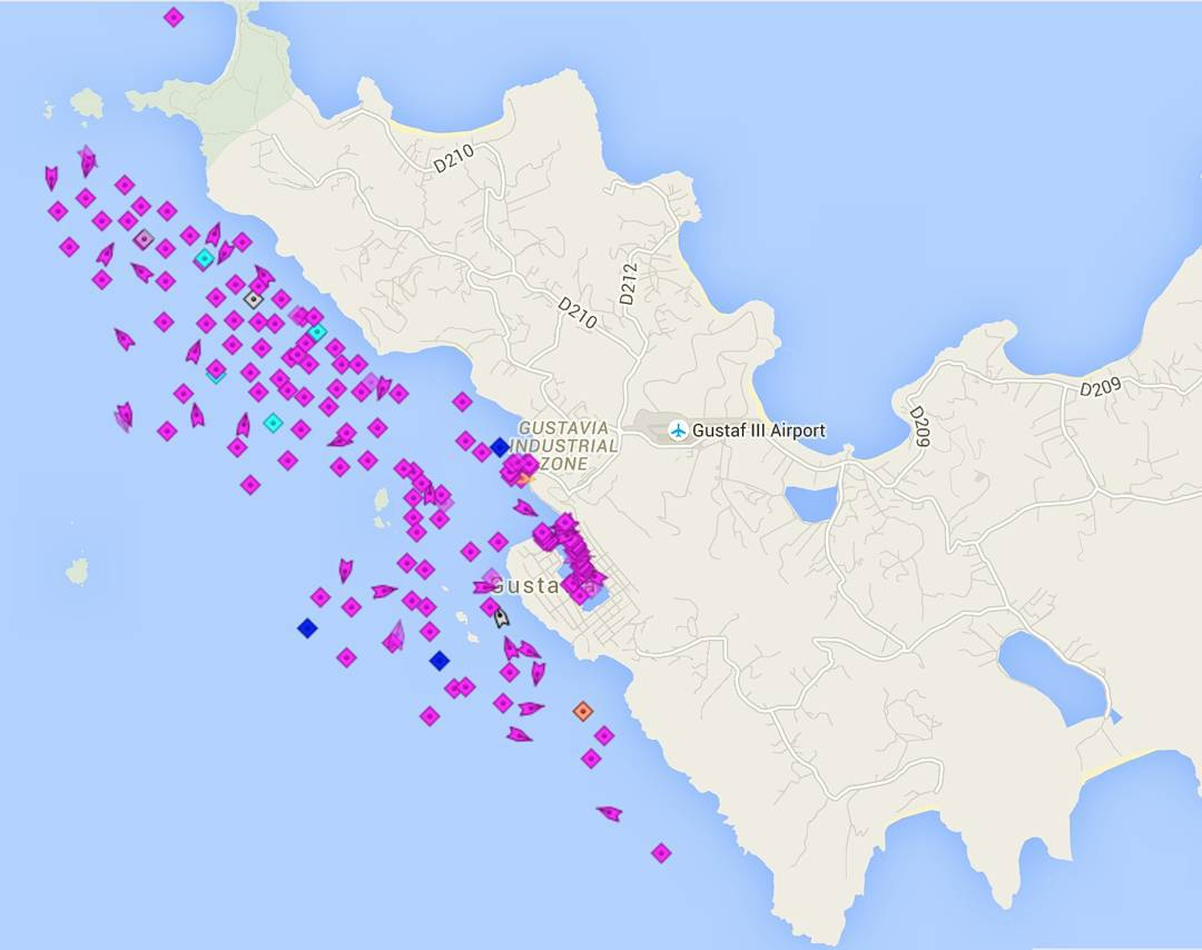 Marine traffic in St Barth's for New Years Eve - incredible number of mega and giga yachts attending likely very lavish parties. The number of private jets and helicopters arriving / departing likely means more are arriving every hour.