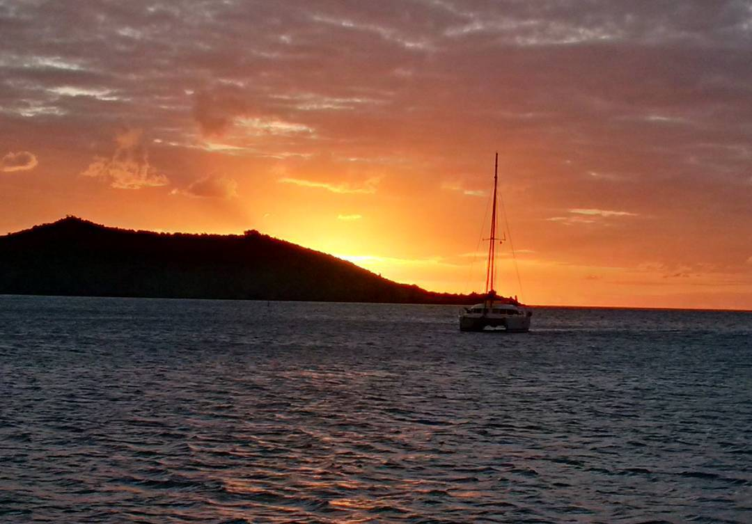 Hard to beat this view of a sunset anchored in Grand Case, St Martin. These are the beautiful vistas our clients experience every day of charter