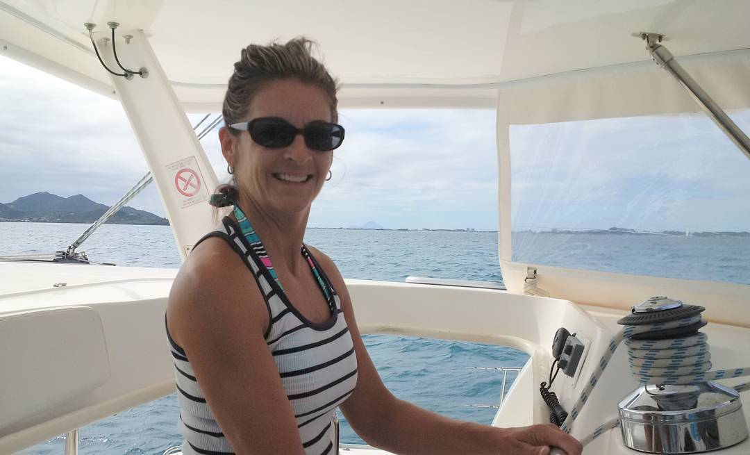 Captain Cindy at the helm during some sea trials. Lots of great sailing over the last 2 weeks in
