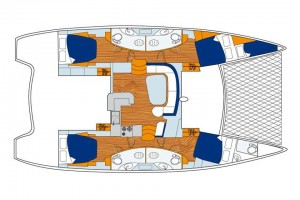 4-Cabin/4-Head model with galley-up design and 2 additional bow cabins